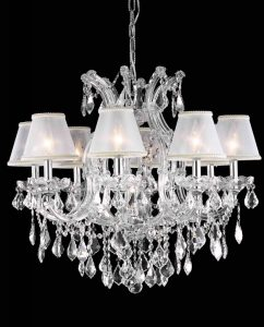 Crystal pendants with mini lamp shades 4540 - Width: 28 Height: 26 Lights: 9