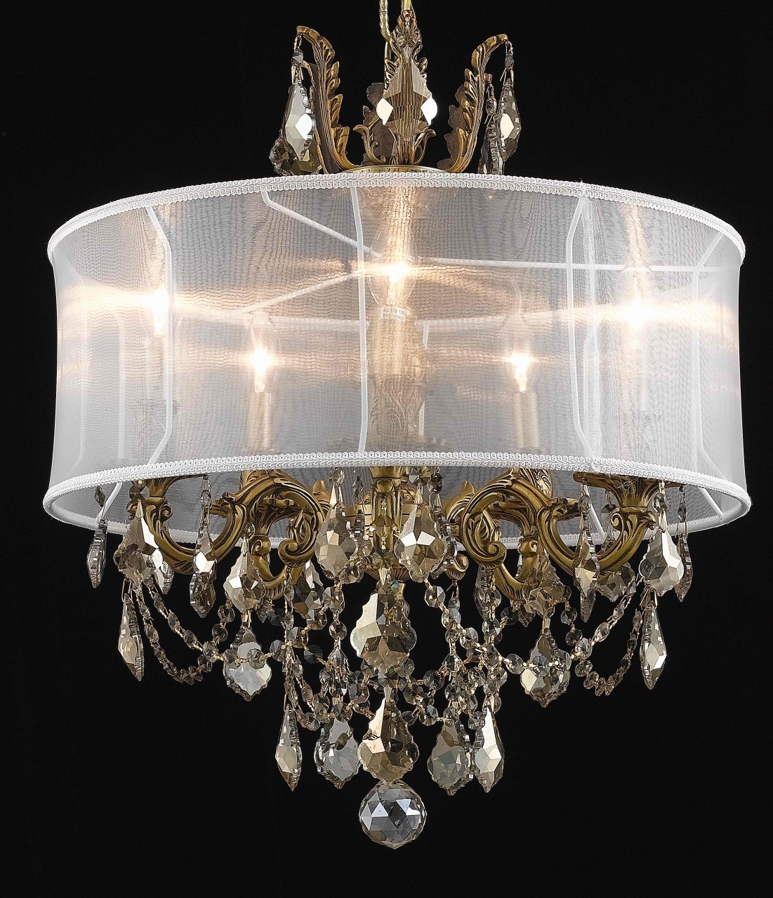 Art nouveau inspired chandelier with sheer lamp shade 4541 - Width/Diameter: 22 Height: 20 Lights: 5