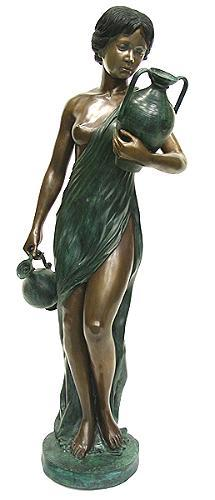 "6516 - STANDING GIRL WITH 2 POT 62""H x 25""W x 18""D"