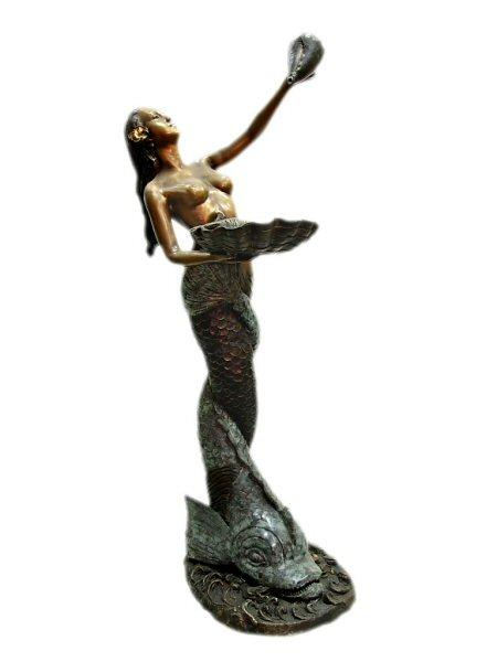 "6517 - MERMAID WITH SHELL FOUNTAIN 19"" x 22"" x 56""H"