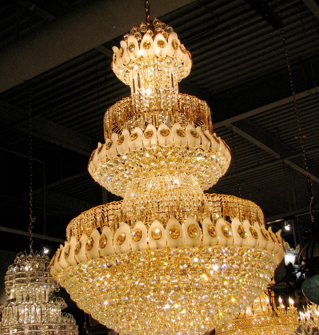 Exquisite frosted glass and golden crystal chandelier 4513